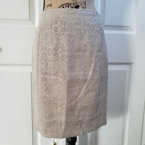 Ann taylor petite beige textured pencil skirt